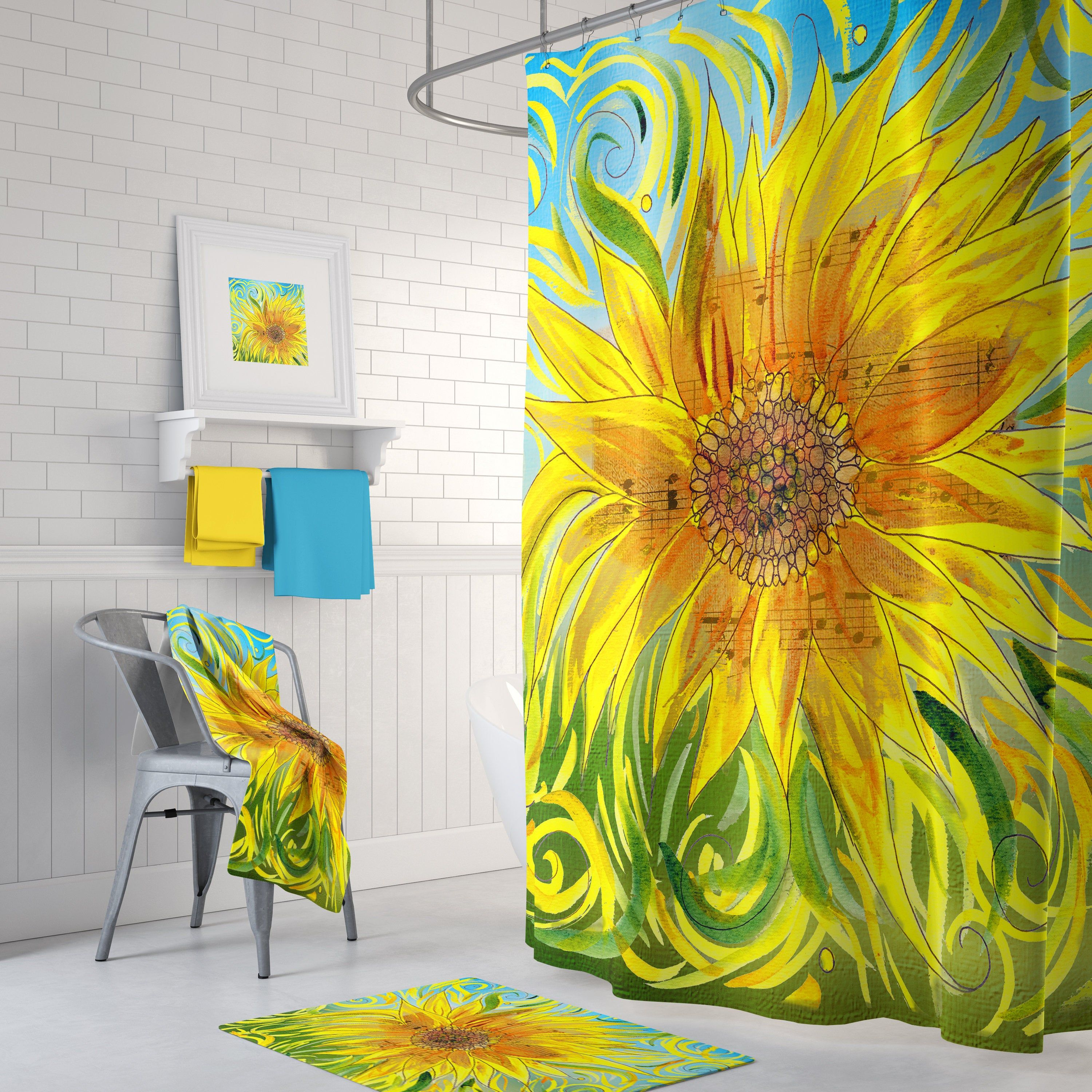 Sunflower Shower Curtain Symphony Design Happy Floral Fall