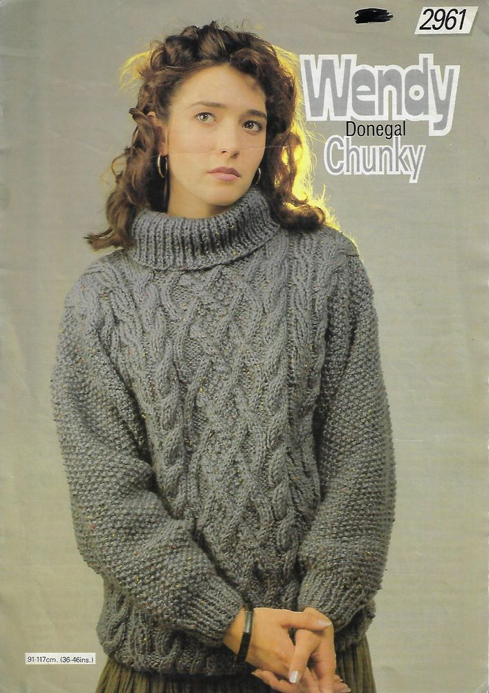 Women\'s Cable Aran Sweater Wendy # 2961 knitting pattern 14 ply yarn ...
