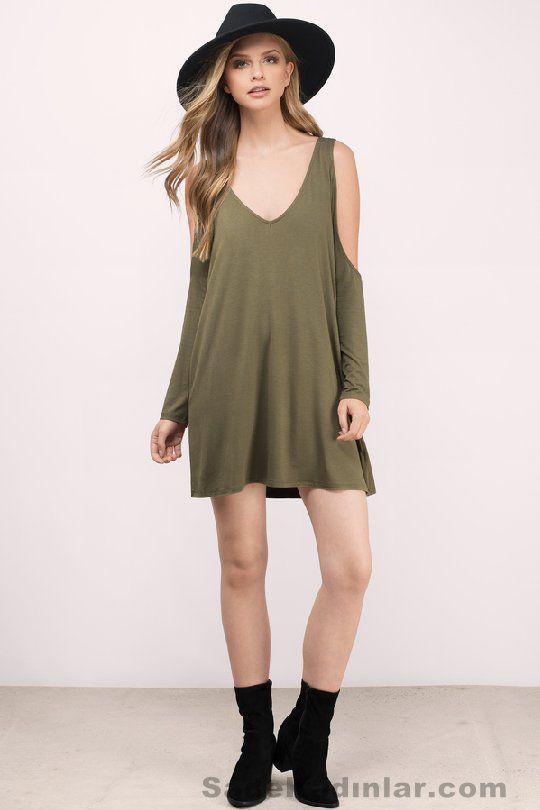 0c712bb9669f7 Günlük Elbise 2018 Şık ve Rahat Yazlık Elbiseler yeşil kısa salaş model