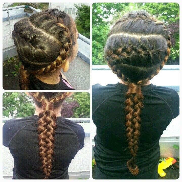 2 frenchbraids into a 5strand braid
