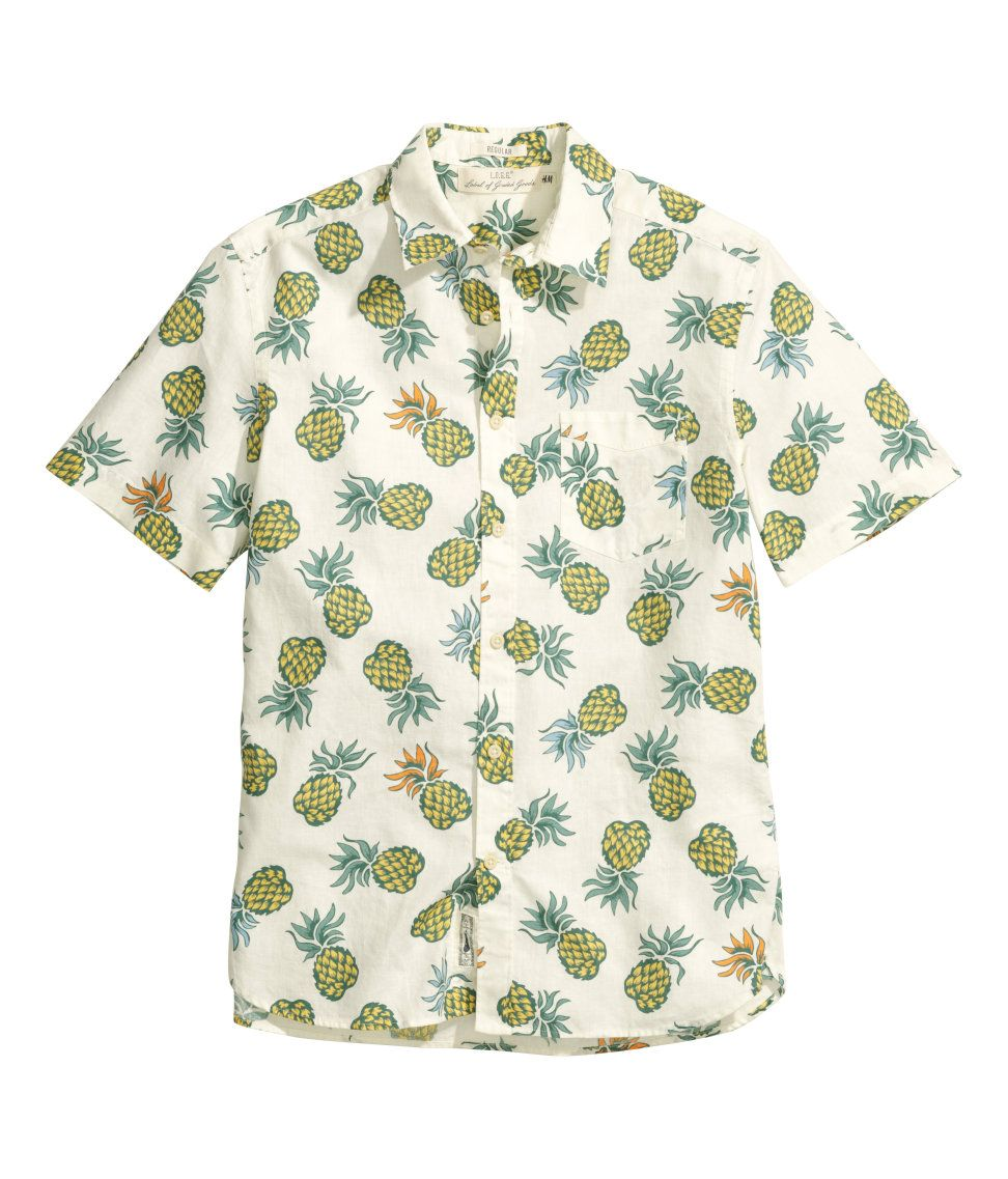 a54f10f2 White short-sleeved shirt with linen & cotton blend, chest pocket, and  pineapple print. | H&M For Men