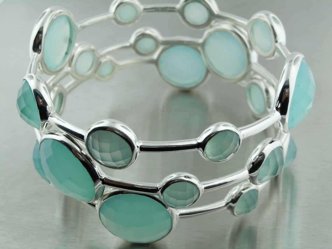 Seafoam Chalcedony Platinum Bubble Bangles by KyleChanDesign