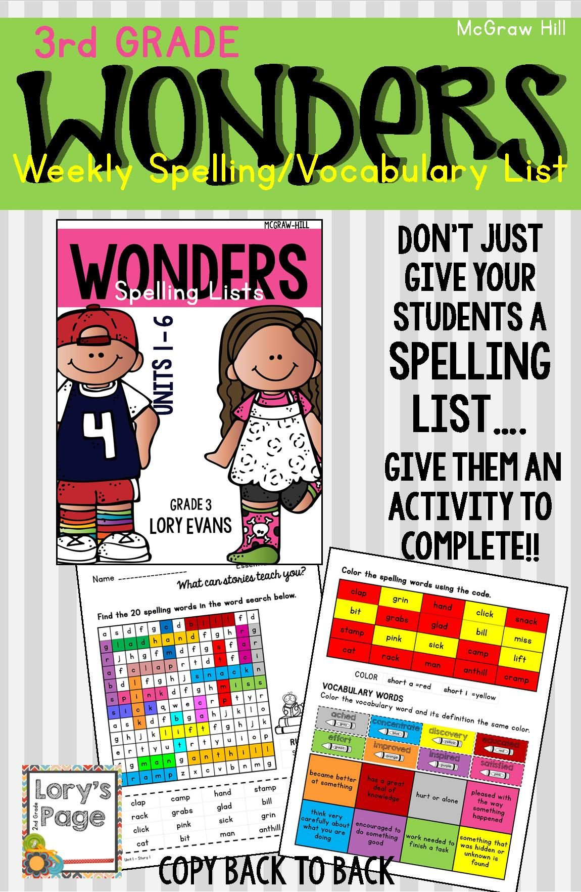 3rd Grade Wonders Spelling Vocabulary Homework