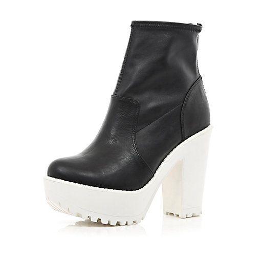 6b067e6317b Black two-tone cleated sole platform boots #riverisland | Boots Beat ...