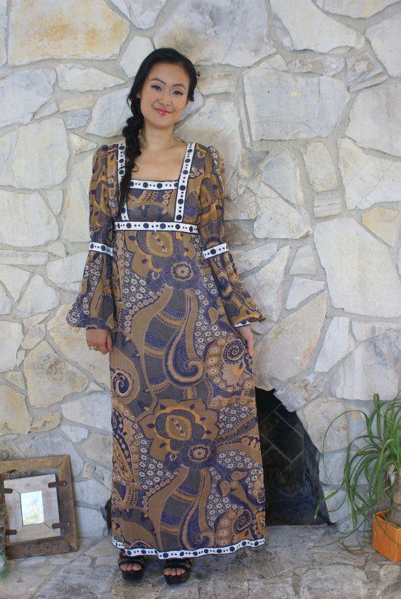 70's Boho dress paisley print