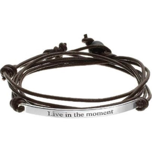 """Live in the Moment"" Remember to always Live in the Moment when you wear this inspiring wrap bracelet.  BRACELET DETAILS  Length: 21 in.  Closure: slip-thru  Metal: sterling silver  Inscription: Live in the Moment  Features: brown leather cord  Size: One Size. Color: Brown Material: Leather/Sterling Silver. All Wrapped Up Jewelry Bracelets"