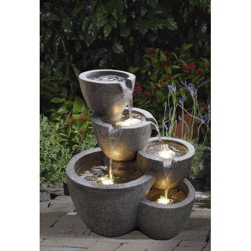 Resin Fiberglass Multi Pot Fountain With Light Water Fountains Outdoor Garden Water Fountains Fountains Outdoor