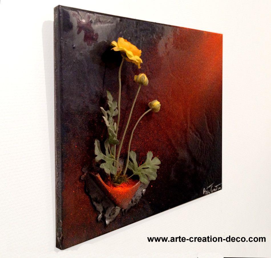 tableau floral original aux couleurs vives tableaux pinterest superpose toiles et recherche. Black Bedroom Furniture Sets. Home Design Ideas