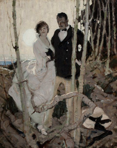 Mainstream Illustration, Attributed to DEAN CORNWELL (American, 1892-1960). MoonlitCouple, circa 1920. Oil on canvas. 30 x 24 in.. Not signed. ...