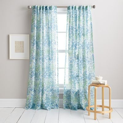 DKNY Modern Botanical Window Curtain Panel In Aqua   BedBathandBeyond.com