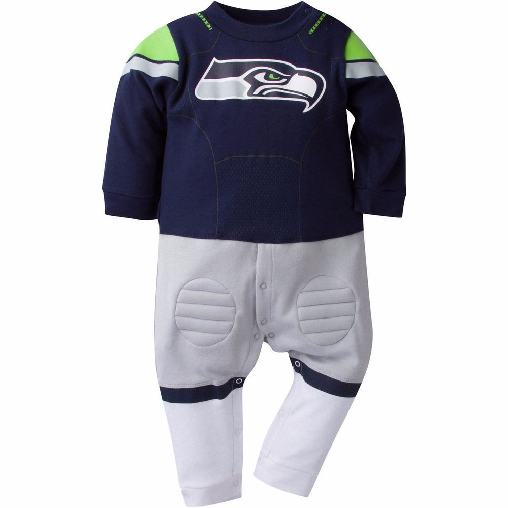 gerber nfl seattle seahawks infant baby player uniform sleepers pajamas gerber