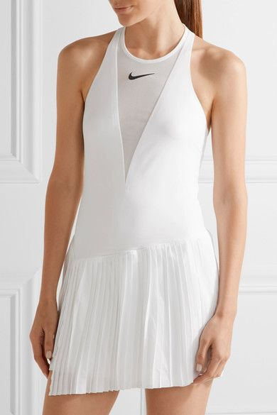 Maria Dri-fit Pleated Mesh-paneled Stretch Tennis Dress - White Nike Fast Delivery Sale Online For Sale Footlocker Supply Cheap Price Marketable Cheap Online Original GaTk0h5fIE