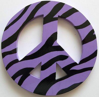 peace sign wood light purple zebra print retro 60 70 kids bedroom