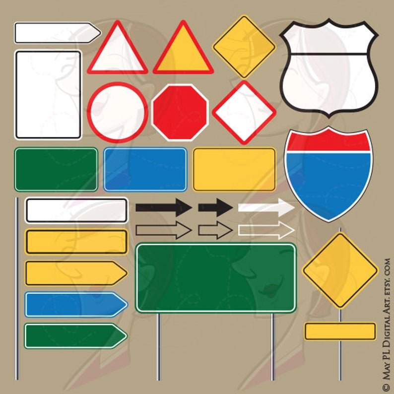 Blank Road Signs Highway Interstate Signage Back To School Empty Street Signs Graphics Poles Arrows Signboard Clipart Vector Png Files 10568 Road Signs Clip Art Borders Line Artwork