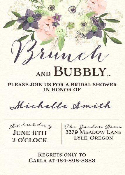 Watercolor brunch and bubbly bridal shower invitation bachelorette watercolor brunch and bubbly bridal shower invitation filmwisefo Gallery