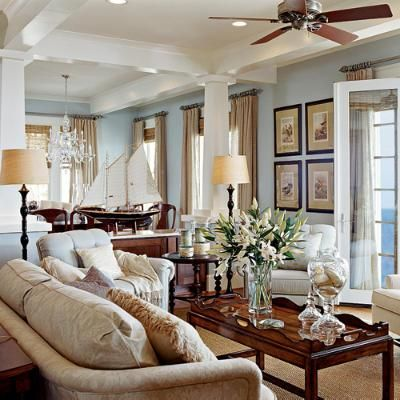 Beach Living Room And A Dream Great Blue Wall Color Could Spend Hours In This Coastal