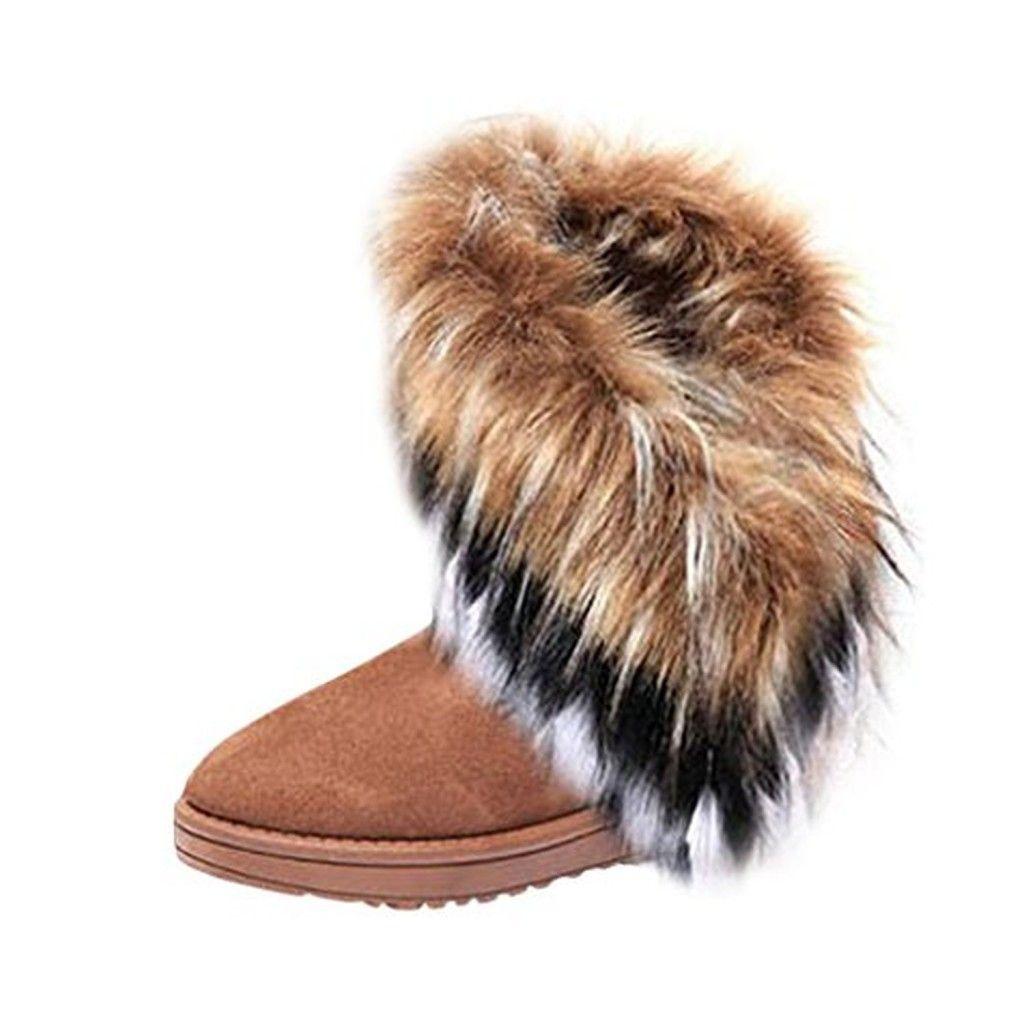 hee grand femme bottes neige imitation fourrure de renard. Black Bedroom Furniture Sets. Home Design Ideas