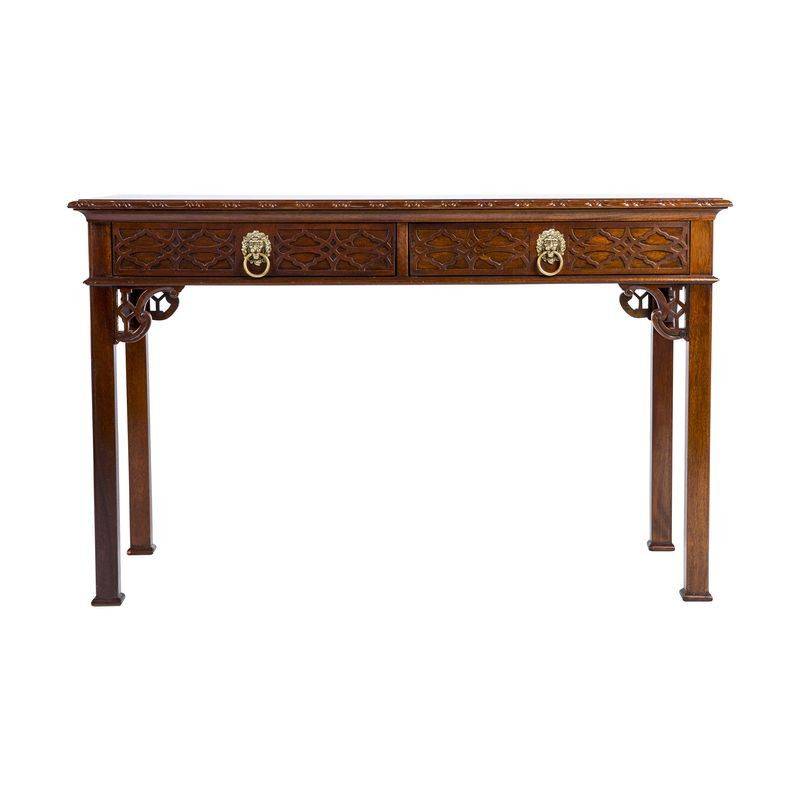Baker chinese chippendale style console table console for Asian style desk