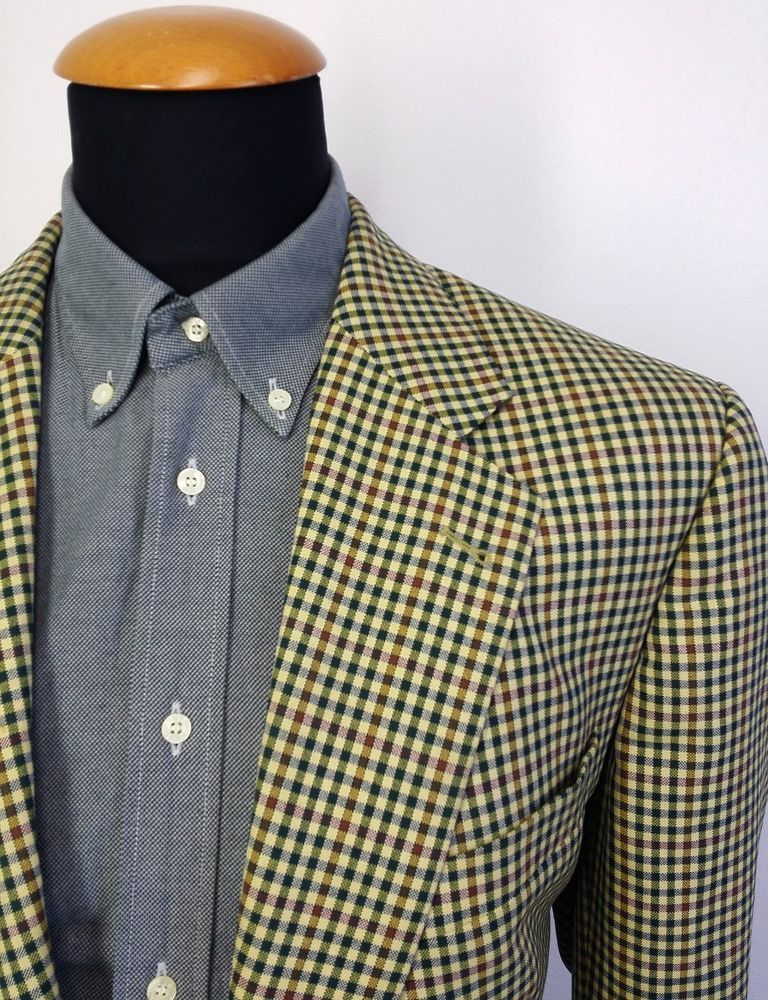 Men's Eduard Dressler Blazer size 44S Gingham Sport Coat Suit ...
