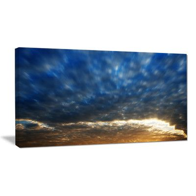 "DesignArt Dramatic Blue and Brown Skies Photographic Print on Wrapped Canvas Size: 16"" H x 32"" W x 1"" D"