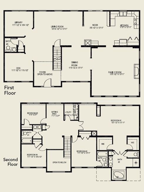 4 bedroom floor plans 2 story