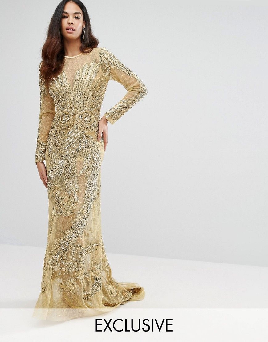 A Star Is Born Mesh Maxi Dress With Placement Embellishment - Gold