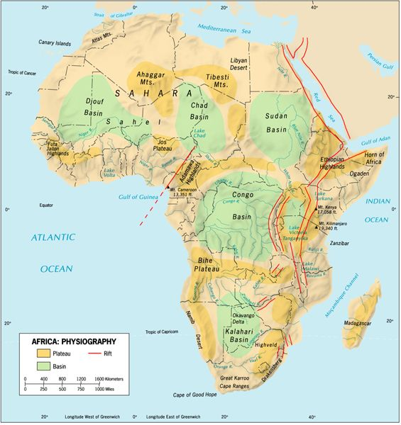 africa physical map - Google Search | GEOGRAPHY: WORLD ...