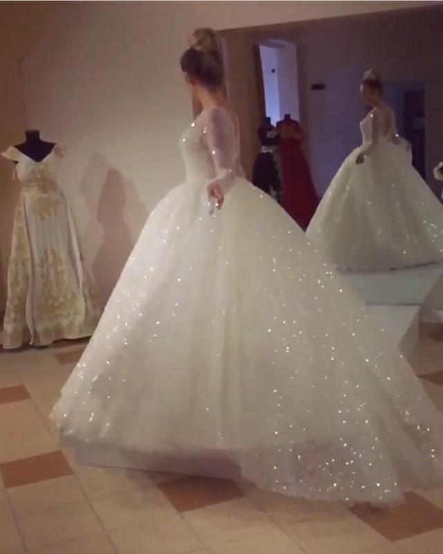 0e3921e41fb Bling Bling Sequins And Pearl Beaded Long Sleeves Wedding Dresses ...