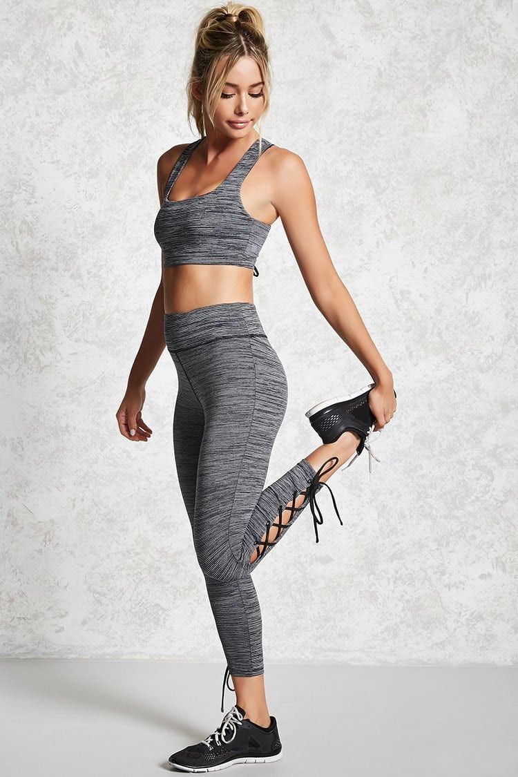 9a5f0ac8125 A pair of athletic leggings featuring a striped pattern