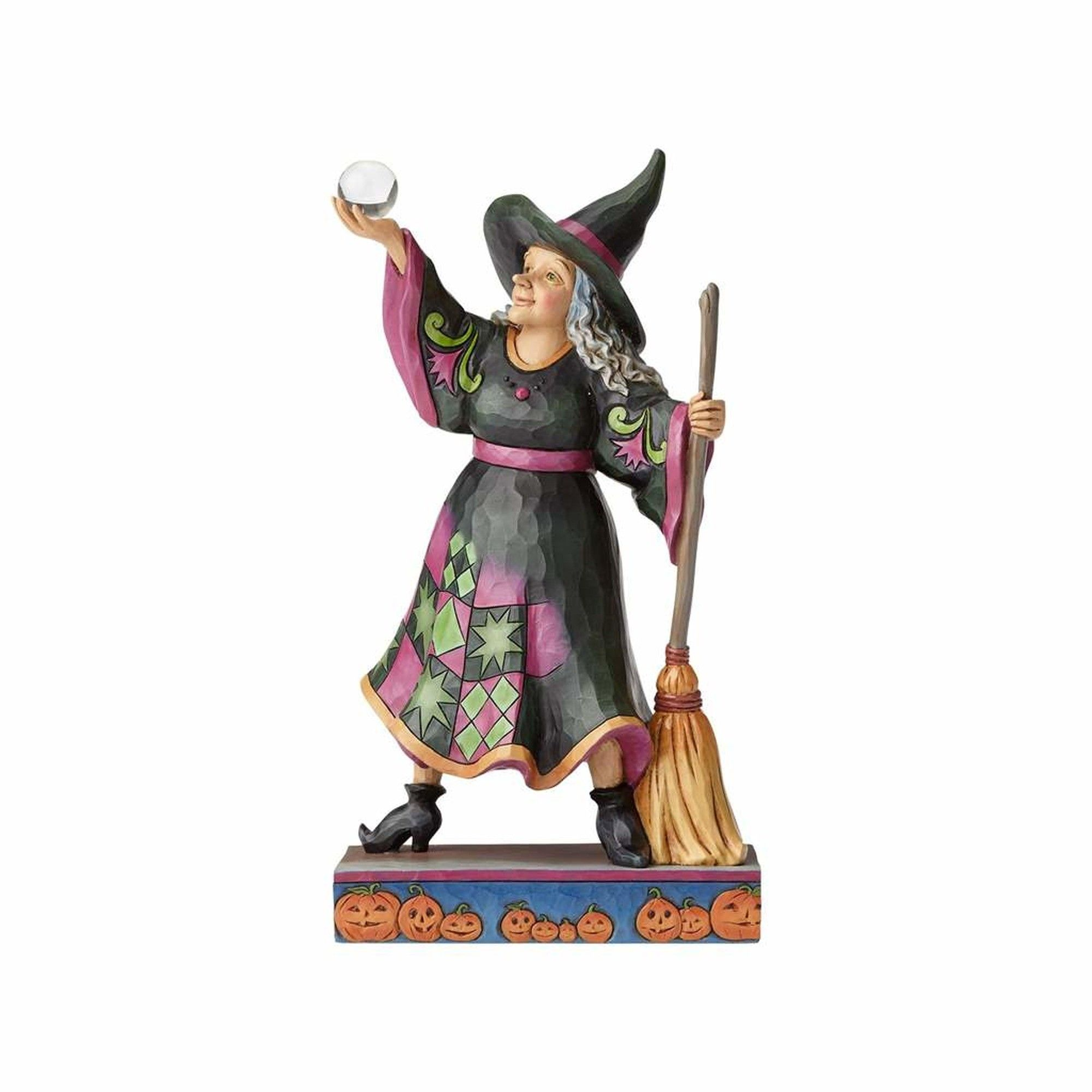 The Witch Is In Witch With Crystal Ball And Broom Figurine New Fun Halloween Decor Halloween Witch Crystal Ball