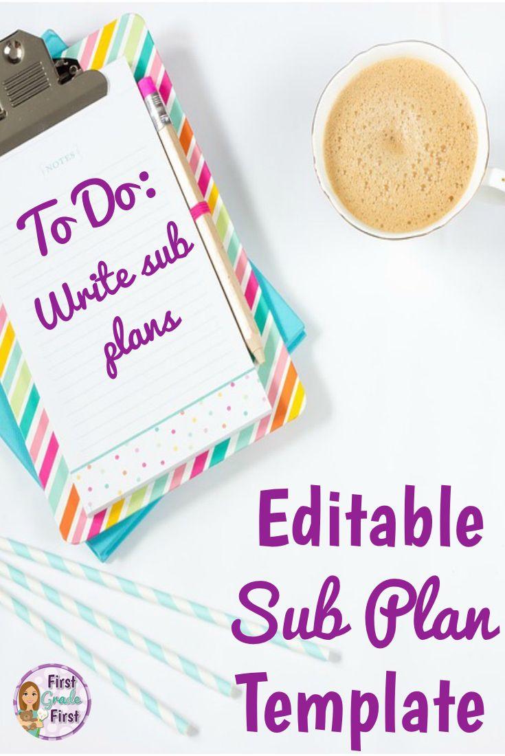 sub plans template editable