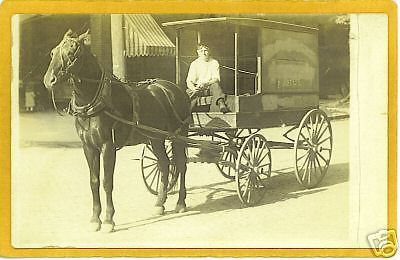 Real Photo Postcard RPPC Man Horsedrawn Delivery Wagon