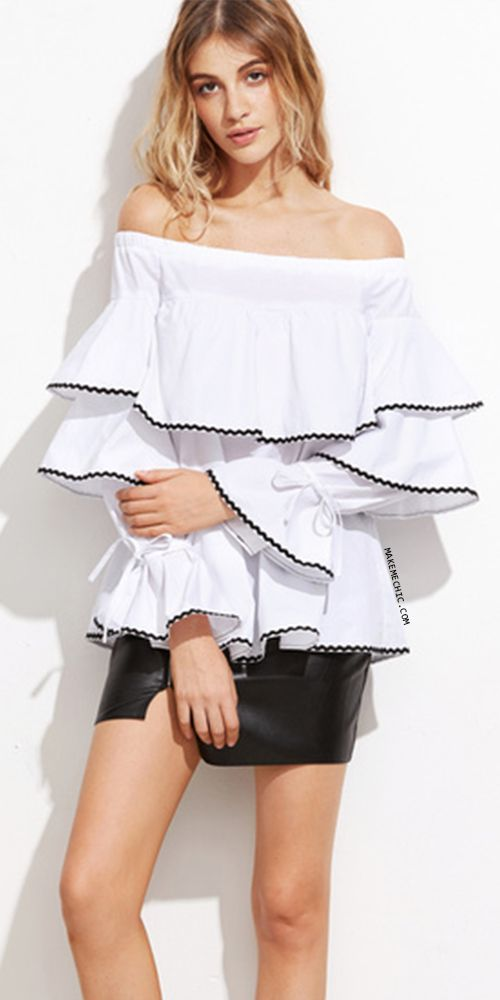 3cebeead285416 White Contrast Woven Tape Trim Off The Shoulder Ruffle Top