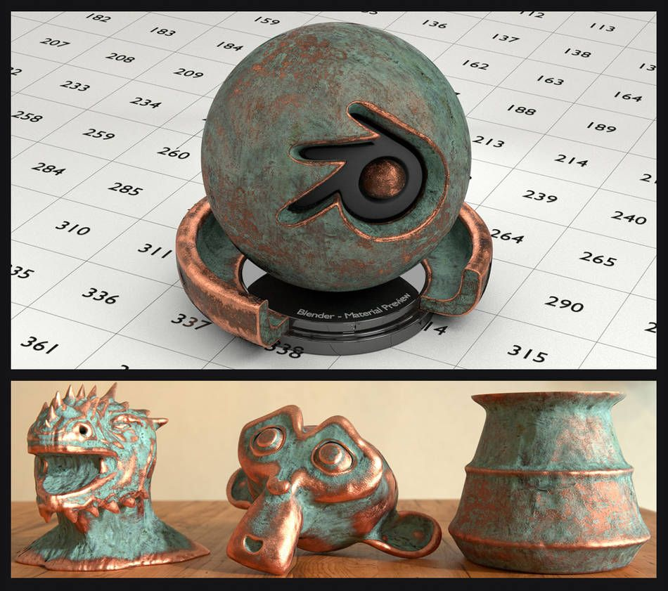 Old Copper material for Blender (no UV's needed) by