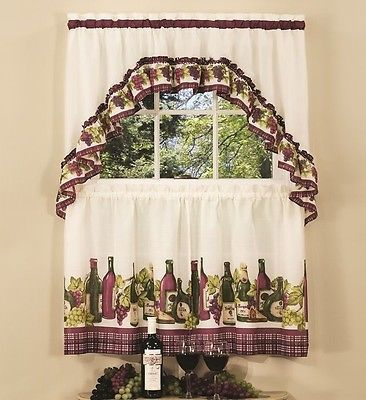 Wine And Grapes Window Curtain Set Kitchen Swag 24 Tiers