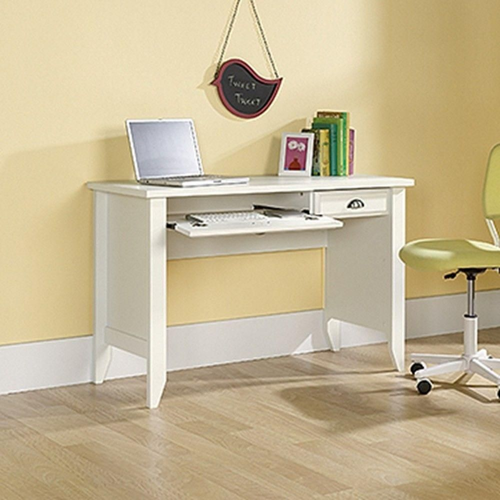 Beautiful Sauder Shoal Creek Computer Desk, Soft White Finish Flip Down Molding  Reveals Slide Out Keyboard/mouse Shelf   Small Drawer Provides Hidden  Storage   Easy  ...
