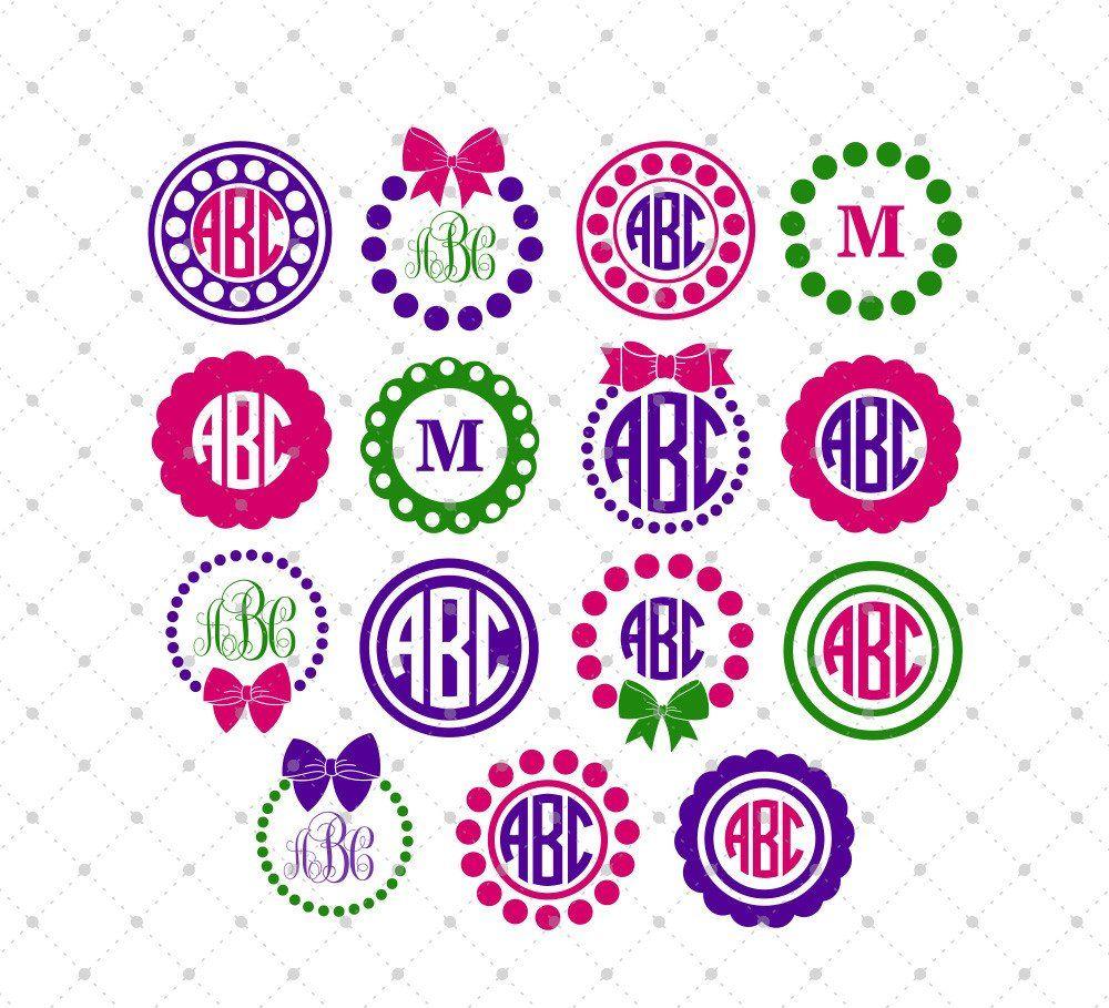 Circle Monogram Frame SVG Cut Files #4 | Vinil, Llaveros y Dibujo