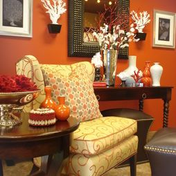 Teal brown orange olive living room design pictures for Burnt orange and brown living room decor