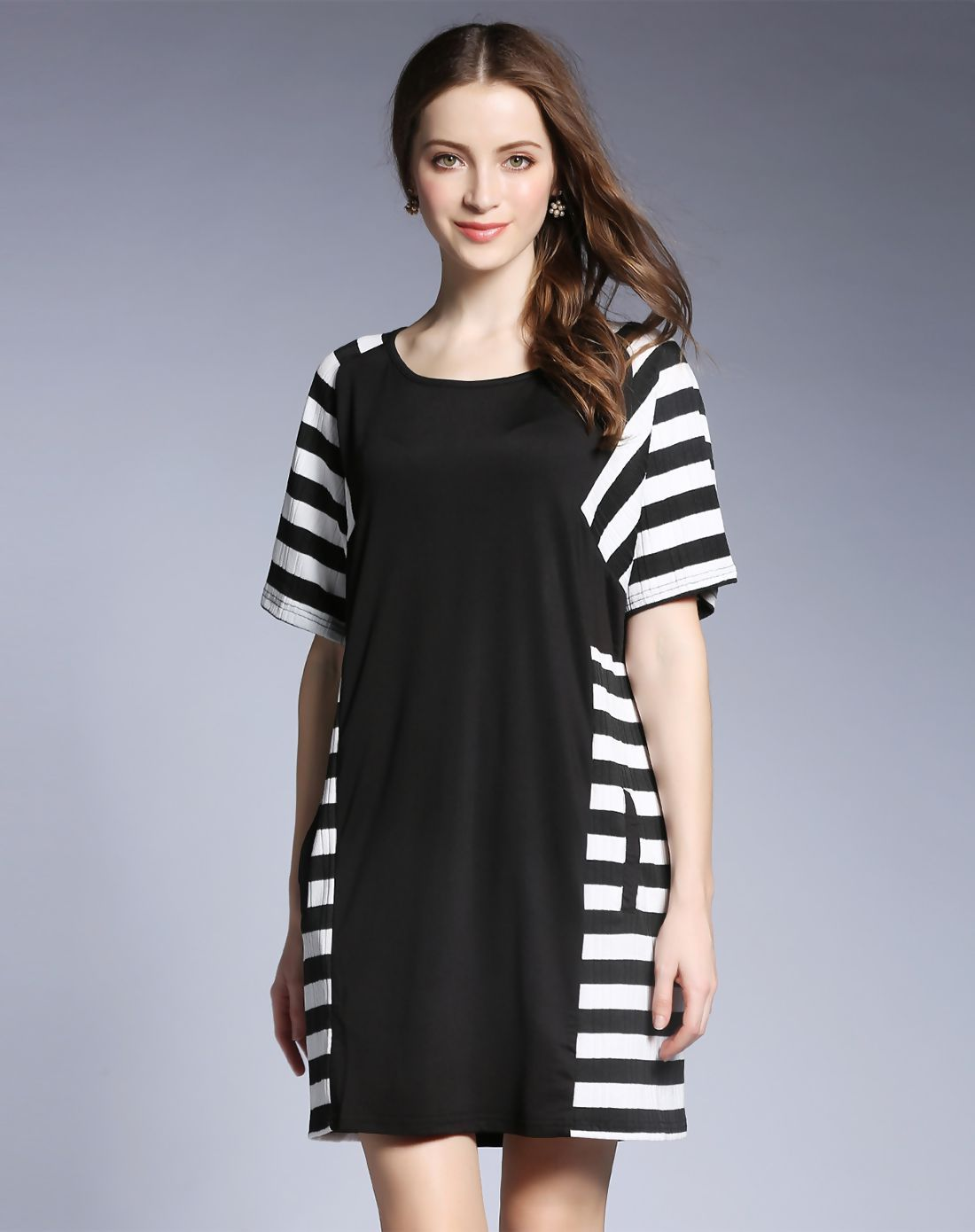 08458173bc27  AdoreWe  VIPme A-Line Dresses❤️Designer FAN SHANG Black Plus Stripes Round