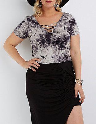 18e2301655d1 Plus Size Tie-Dye Caged Crop Top | Charlotte Russe | Plus