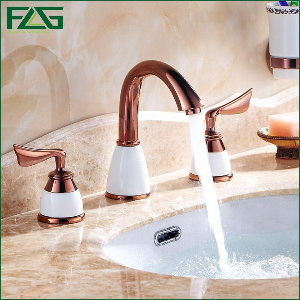 Free Shipping Bathroom Faucet 3 Holes Double Handle Rose Golden Basin Sink Water Taps Solid Brass In The Bathroom Products 313m Faucet Sink Faucets Sink
