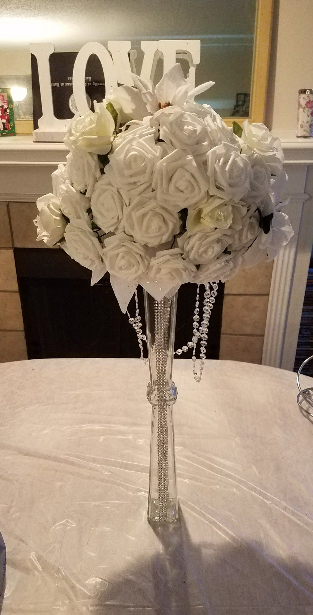 Wedding Vase Centerpiece Made From Items Found At Dollar Tree And