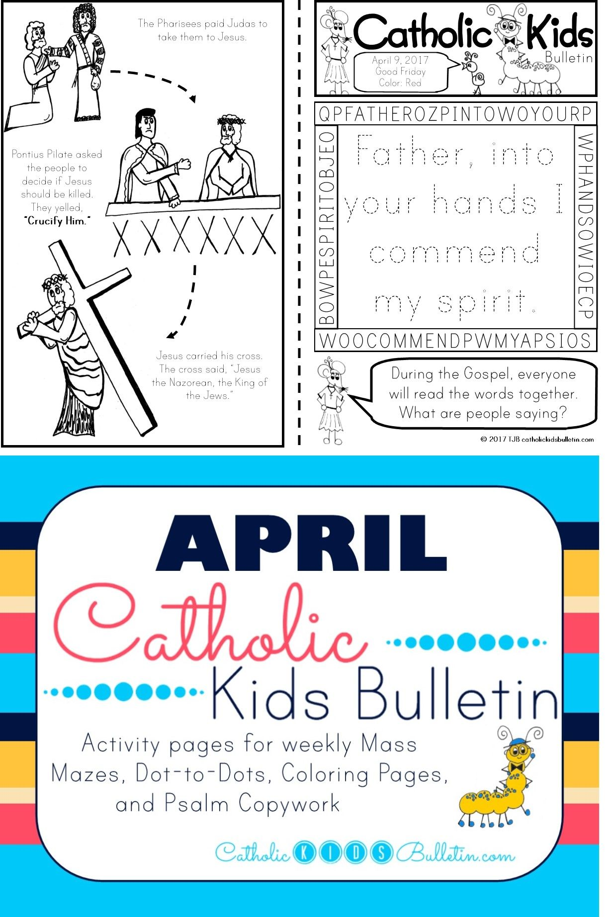 Check out these awesome Catholic Mass Bulletins for kids! These coloring and activity pages are perfect for PreK, Kindergarten, 1st, and 2nd grades. The kids can learn about the Gospel and a Saint of the week so they can focus during Catholic Mass! They are available in Spanish or English. Good Friday Psalm 31 John 18 John 19