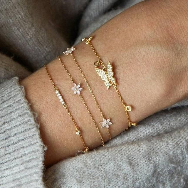Details about  /Multi Leaf Chain Anklet in Silver or Gold Womens Jewelry Womens Gifts
