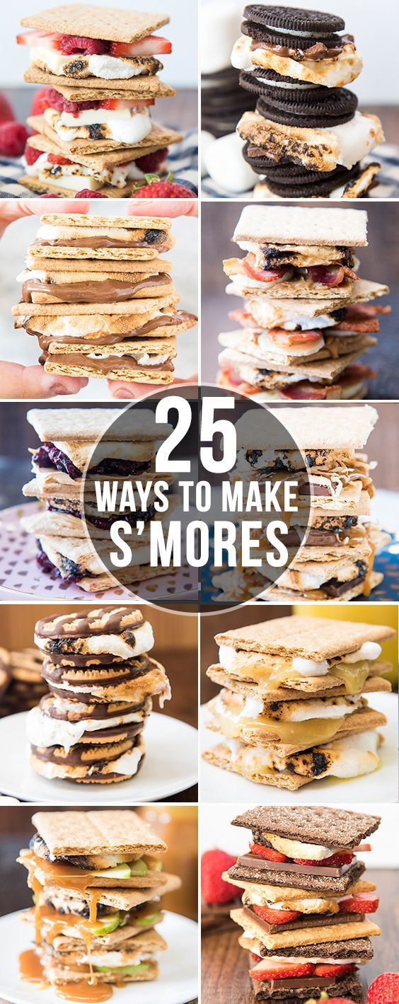 are 25 amazing and delicious different ways to make s'mores. Not just your traditional chocolate, marshmallow and graham cracker you'll love these tasty treats. From lemon meringue pie, to banana split, to s'moreos and more!