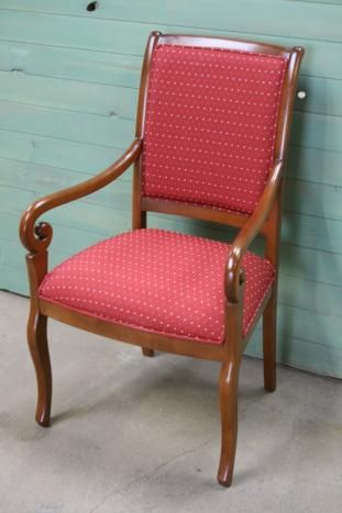 Fauteuil Crosse de style Louis Philippe TISSU BORDEAUX , meuble en ...