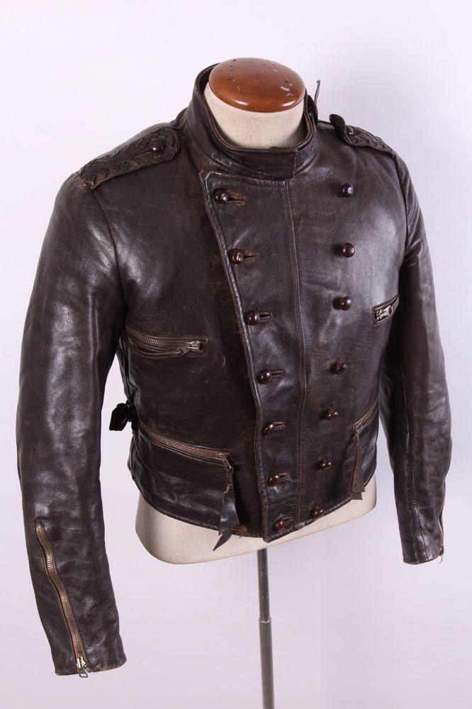 Vintage 40s Wwii Era German Leather Motorcycle Coat Jacket Mens 36 38 Vintage Clothing Men Mens Jackets Jackets