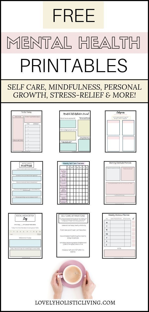 Free mental health and personal development printables for self-discovery, stres…