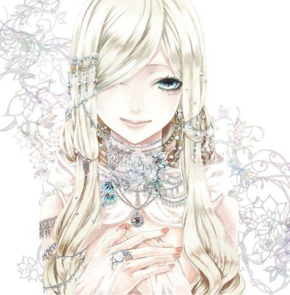 Девушка с белыми волосами арт аниме