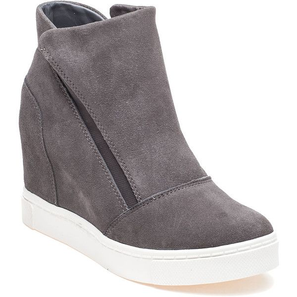 STEVE MADDEN Lazaruss Grey Suede Sneaker Wedge (£69) ❤ liked on Polyvore featuring shoes, sneakers, grey suede, suede slip-on sneakers, suede sneakers, platform shoes, platform slip on sneakers and gray slip on sneakers